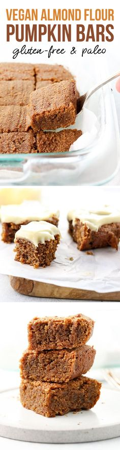 These Vegan Gluten-Free Pumpkin Bars are made with protein-rich almond flour and are naturally sweetened with low-glycemic coconut sugar for a healthier Fall treat. Theyre totally irresistible and egg-free! Sugar Free Desserts, Paleo Dessert, Gluten Free Desserts, Vegan Desserts, Healthy Desserts, Just Desserts, Dessert Recipes, Holiday Desserts, Healthy Foods