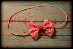 red paisley hair bow headband fabric bow babys by CeannaPaige Fabric Bow Headband, Fabric Bows, Babys, Hair Bows, Paisley, Trending Outfits, Unique Jewelry, Handmade Gifts, Red