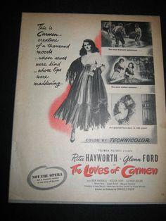 1948 Original Movie THE LOVES OF CARMEN Rita Hayworth Glenn Ford ad print