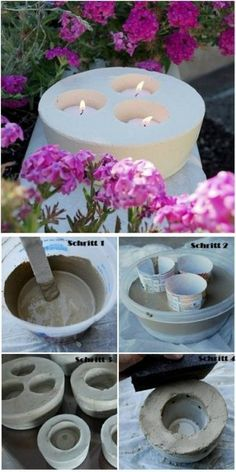 Kreative Deko selber machen - Kerzenhalter - DIY / how to make beautiful candle holders with concrete ♥ Best Picture For diy manualidades Fo - Concrete Crafts, Concrete Planters, Concrete Backyard, Garden Planters, Backyard Patio, Concrete Candle Holders, Ideias Diy, Beautiful Candles, Diy Candles