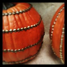 Add decorative nails or upholstery tacks to Funkin pumpkins (or regular pumpkins!) for fun #Halloween or #Fall decor :)