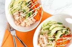 Instead of bothering will rolling and cutting up a sushi roll, try this healthy salmon sushi bowl recipe to get the flavor you crave at a fraction of the cals.