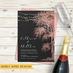 Engagement invitation, wedding invitation, string lights, fairy lights, rose gold tree, chalkboard background, digital customised printable