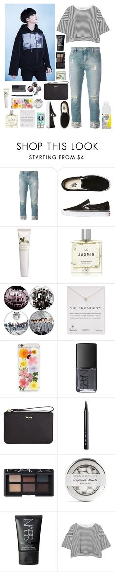 """""""☆Bts concert; Suga☆"""" by bands116 ❤ liked on Polyvore featuring Each X Other, Vans, Origins, Miller Harris, Dogeared, Forever 21, NARS Cosmetics, DKNY, Bobbi Brown Cosmetics and T By Alexander Wang"""
