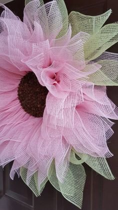 Soft Pink Sunflower Wreath Sunflower Wreath by TriciasTreasures11
