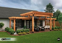 The pergola kits are the easiest and quickest way to build a garden pergola. There are lots of do it yourself pergola kits available to you so that anyone could easily put them together to construct a new structure at their backyard. Pergola Canopy, Outdoor Pergola, Wooden Pergola, Backyard Pergola, Backyard Landscaping, Outdoor Spaces, Outdoor Living, Pergola Lighting, Cheap Pergola