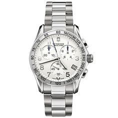 29e370a89a7 Amazon.com  Victorinox Swiss Army Men s 241315 Chrono Classic Silver-Tone  Dial Watch  Victorinox  Watches