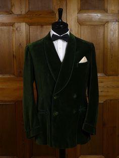 1950 Savile Row Bespoke Green D/B Silk-Velvet Shawl Lapel Smoking Jacket.