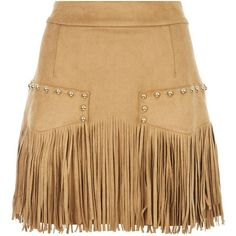 Just Cavalli Gold Stud Fringed Mini Skirt ($595) ❤ liked on Polyvore featuring skirts, mini skirts, boho skirt, just cavalli, beige mini skirt, bohemian style skirts and faux suede fringe skirt