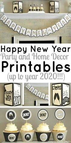 These Happy New Year party and home decor printables are perfect for all of your New Year celebrations! Add some flare to your office parties and New Year's Eve celebrations with these fun printables! New Year's Eve party decor, New Year's Day, New Year's New Years Eve Day, New Years Party, New Year Printables, Party Printables, New Year's Eve Celebrations, New Year Celebration, New Year's Eve Crafts, Diy Crafts, New Years Eve Decorations