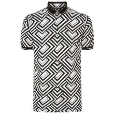 Dolce & Gabbana Geo Print Polo Shirt ($380) ❤ liked on Polyvore featuring men's fashion, men's clothing, men's shirts, men's polos, mens leather shirt, mens bike shirts, mens patterned shirts, mens print shirts and dolce gabbana mens shirts