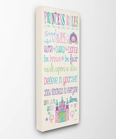 Rainbow 'Princess Rules' Castle Wall Art by The Kids Room by Stupell #zulily #zulilyfinds