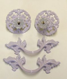 French Provincial Drawer Pull Upcycled White Purple by prettyware