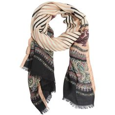Etro Women Paisley Graphic Wool & Silk Scarf (32855 RSD) ❤ liked on Polyvore featuring accessories, scarves, multicolor, etro scarves, pure silk scarves, silk scarves, wool scarves and paisley shawl