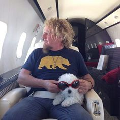 Sammy Hagar on his Private Learjet with his cool dog Red Rocker, Sammy Hagar, Raised By Wolves, Best Rock, Concert Photography, Van Halen, Most Favorite, Great Photos, My Boyfriend