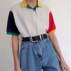 a collection of my colorblock shirts :) Quirky Fashion, Aesthetic Fashion, 80s Fashion, Aesthetic Clothes, Korean Fashion, Fashion Outfits, Woman Outfits, Girl Fashion, Cute Casual Outfits