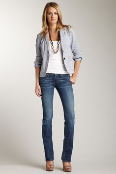 Love the necklace. How can I make this outfit work without the heels?    AG  Angel Bootcut Jean