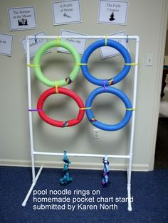Use your pocket chart stand and pieces from your noodle ring game to make an indoor target for days when it's rainy, hot, or cold outside.