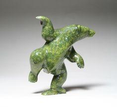 """BEAR by Isaaci Etidloi from Cape Dorset (Serpentine ; 8"""" x 7"""" x 3"""") ~ sculpture"""