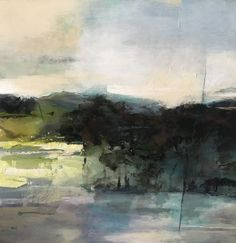 """Spring Solace by Joan Fullerton Mixed Media ~ 24"""" x 24""""-Contemporary Abstract Landscape Art Painting,""""SPRING SOLACE"""" by Intuitive Artist Joan Fullerton #abstractart"""