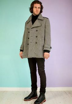 Vintage 80s Grey Double Breasted Pea Coat