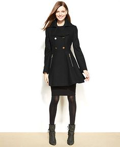 Laundry by Shelli Segal Double-Breasted Flared-Skirt Coat - Coats - Women - Macy's