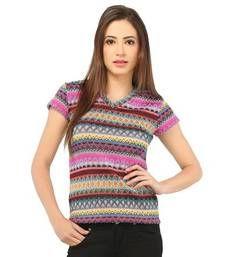 Buy multicolor poly viscose jersey tops top online
