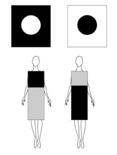 Such great reminders for how to place fabrics on the body when designing. Optical Illusions in fashion.