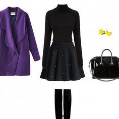 Комплект с фиолетовым пальто