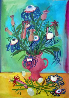 Flores con ojos saltones. Painting of the Serie Still Life for sale by artist Diego Manuel. Cuadro en venta de la Serie Naturaleza Muerta