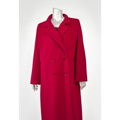 Vintage Red Wool Coat - Forecaster of Boston 80s Coat - Double Breasted Dress Coat - Long Wool Winter Jacket - 1980s Cocoon Coat - Cranberry Red Coat (Medium Large - Large - Size 11/12)  #vintage #fashion #style #clothing #outerwear #womens