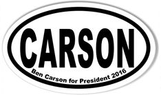 Ben CARSON For President Euro Oval Stickers