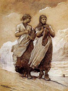 Artist :Winslow Homer (1836–1910)  Title Fisher Girls on Shore, Tynemouth  Date 1884  Medium chalk on paper