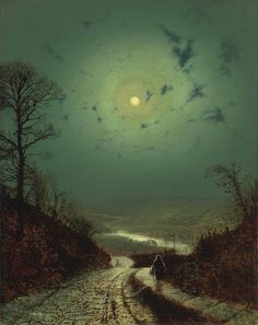 """🎨 Wharfedale by Moonlight, 1871 👨‍🎨 John Atkinson Grimshaw – was an English artist. ""remarkable and imaginative painter"""" Pictures Of The Week, Art Pictures, Room Pictures, Atkinson Grimshaw, Images D'art, Moon Art, Landscape Art, Moonlight, Amazing Art"