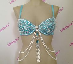 Nixie  Sea Goddess inspired bra with pearls and by lilkittyko, $145.00