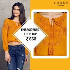 #Embroided Crop top at an super exciting price of Rs.663 only. #TogoFogoLooks #Fashion