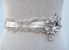 Love this with a blue sash!  Couture Bridal Sash Bridal Belt Emilie by SparkleSM on Etsy