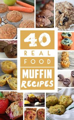 A collection of 40 healthy, real food muffin recipes that are perfect for freezing and kids' school lunches. Many are gluten free and all are low sugar (or no refined sugar!)