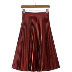 Burgundy Metallic Foil Pleated Midi Skirt (81 BGN) ❤ liked on Polyvore featuring skirts, red skirt, red pleated skirt, metallic skirt, metallic pleated skirt and knee length pleated skirt