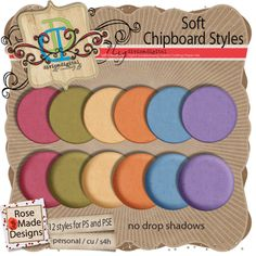 Soft Chipboard Styles by RoseMadeDesigns     This is a set of 12 chipboard layer styles for Photoshop and Photoshop Elements.   Installation instructions and the XML file for PSE are included.   Commercial Use is OK - even in collabs and freebies - but these styles may not be used to create other CU items.