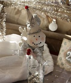 handmade christmas crafts diy snowman with hat and ribbon made from old glass bottle Christmas Love, Christmas Snowman, All Things Christmas, Vintage Christmas, Christmas Ornaments, Xmas, Snowman Ornaments, Christmas Presents, Christmas Ideas