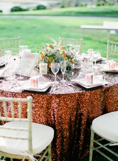 #tablecloth, #sequins  Photography: Laura Ivanova Photography - lauraivanova.com  Read More: http://www.stylemepretty.com/2014/07/14/red-rock-inspiration-shoot-in-the-desert/