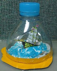for 3rd-5th... have students bring plastic bottles, and favorite toy. use cardboard bottom..... COOL IDEA!!! sorta like the art jars, only they can make in class........ :)