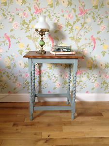 Side Occassional Hall Table Barley Twist Legs Vintage Shabby Chic - so want to do this.( wallpaper is beautiful)