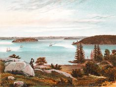Historic Illustration: Berry's Bay & Goat Island, Sydney, New South Wales 1878 Historical Pictures, South Wales, Goats, Sydney, Berries, Island, Mountains, History, Places