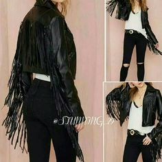 "🆕✨9XHP✨BLACK FAUX FRINGE MOTO JACKET (PIC#1 IS FOR STYLE REFERNCE) HOT FAUX LEATHER FULLY LINED MOTO JACKET! SLIGHT CROP FEATURES 2 ZIP POCKETS, 2 FAUX ZIP CHEST POCKETS &  RAW CUT FRINGE LINING THE SLEEVES & BACK. SLIGHT ANGLE FRONT ZIP CLOSURE ! THIS FEELS LIKE SOFT VEGAN APPX MEASUREMENTS - PIT TO PIT 19-19.5"" (DOUBLE THAT)/GORG  FULL FRINGE 12""LONG/FULL LENGTH APPX 19-20""/WIDEST PART CIRCUMFERENCE  OF ARM 6-6.5""  (DOUBLE THAT) CARE: WIPE AREA W/ MILD SOAP, DAMP CLOTH . LAST DROP PRICE…"