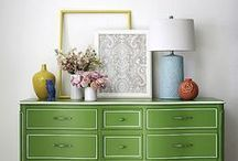 Love the green dresser. Green blue and yellow all together