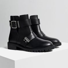 Image 3 of LEATHER BIKER BOOTS WITH BUCKLES from Zara