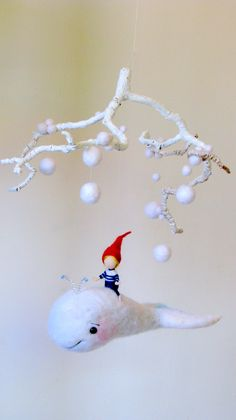 Children Needle felted mobile  White whale  by Made4uByMagic
