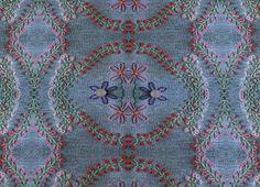 Stoff Blumen - 528 Jersey Jeansblau in Stickoptik - ein Designerstück von…